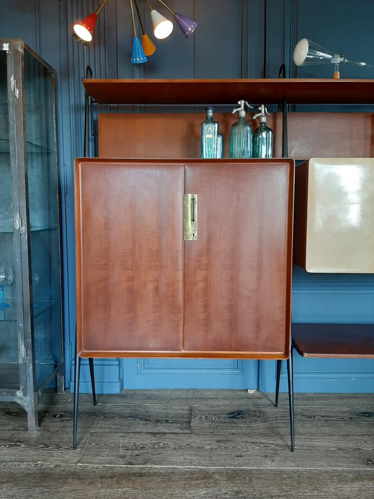 Mid-Century Modern Vintage Italian Teak Wall Unit Sideboard Bookcase with Bar by Silvio Cavatorta For Sale