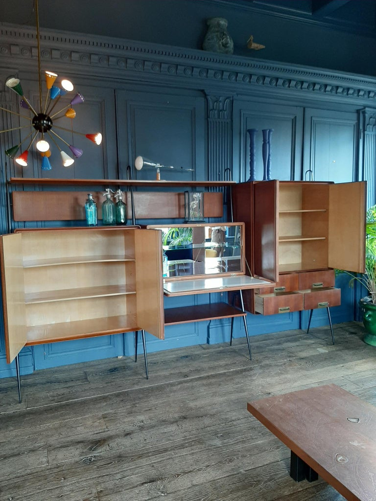 Mid-20th Century Vintage Italian Teak Wall Unit Sideboard Bookcase with Bar by Silvio Cavatorta For Sale