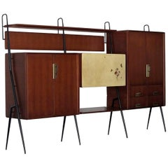 Vintage Italian Teak Wall Unit Sideboard Bookcase with Bar by Silvio Cavatorta