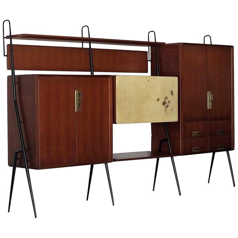 Vintage Italian Teak Wall Unit Sideboard Bookcase with Bar by Silvio Cavatorta For Sale