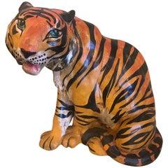 Vintage Italian Terracotta Tiger Statue