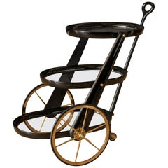 Vintage Italian Three-Tier Lacquered Black Bar Cart by Aldo Tura