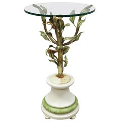 Vintage Italian Toleware Tole Metal Bird Tree Round Glass Top Accent Side Table