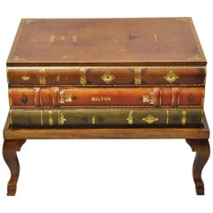 Vintage Italian Tooled Leather Stacked Book Storage Coffee Table Trunk on Base