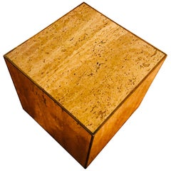 Vintage Italian Travertine Cube Table with Brass Trim