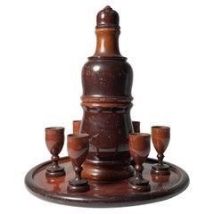 Vintage Italian Turned Wood Thermos Carafe Set Attributed to Aldo Tura