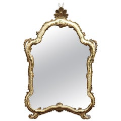Vintage Italian Venetian Paint and Gilt Decorated Over Mantle Mirror, circa 1930
