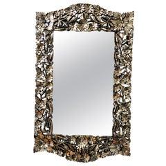 Vintage Italian Venetian Style Mirror with Flowers
