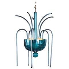 Vintage Italian Venini Fountain Murano Blaue Glas Kronleuchter No. 99.35