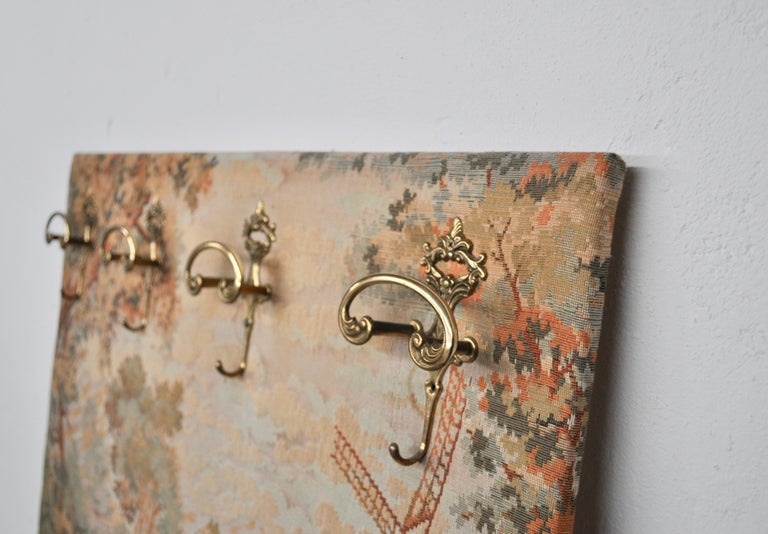 Late 20th Century Vintage Italian Wall Coat Rack with Tapestry and Brass-Plated Hangers, 1970s For Sale