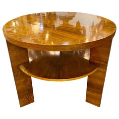 Vintage Italian Walnut Art Deco Design Round Side Table