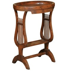 Vintage Italian Walnut Side Table with Lyre-Shaped Legs and Oval Tray Top