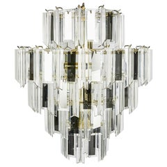 Vintage Italian Waterfall Chandelier with Lucite and Mirrored Prisms