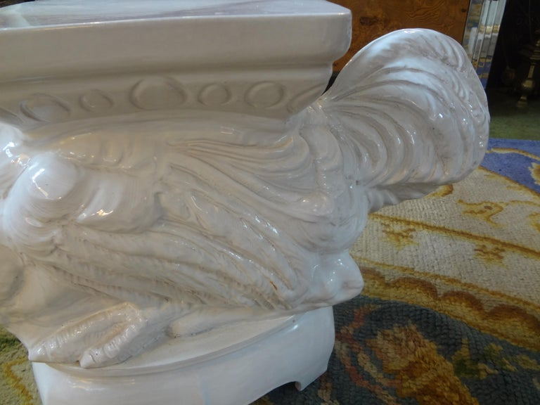Vintage Italian White Glazed Terracotta Garden Seat or Table of an Ostrich In Good Condition For Sale In Houston, TX