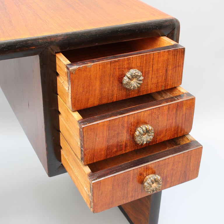 Vintage Italian Wooden Desk, circa 1970s For Sale 8