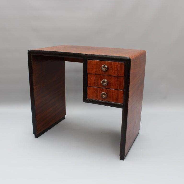 Art Deco Vintage Italian Wooden Desk, circa 1970s For Sale