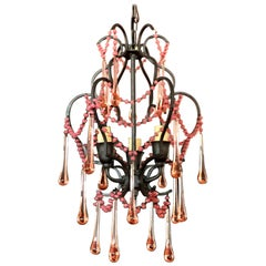 Vintage Italian Wrought Iron and Rose Drop Crystal Diminutive Tiered Chandelier