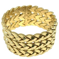 Vintage Italian Yellow Gold Woven Bracelet