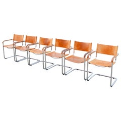 Vintage Italy Cognac Vegetal Leather Dining Chairs Armchairs Cantilever Set of 6