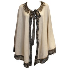 Vintage Ivory and Black Cape by Fierony Paris
