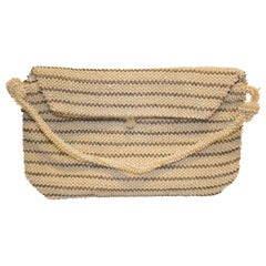Vintage Ivory and Brown Beaded Purse
