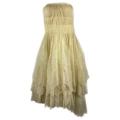 1900s Lanvin Ivory Cream Floral Lace Sleeveless Midi Dress