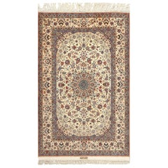 Vintage Ivory Isfahan Persian Rug. Size: 4 ft 8 in x 7 ft 5 in (1.42 m x 2.26 m)