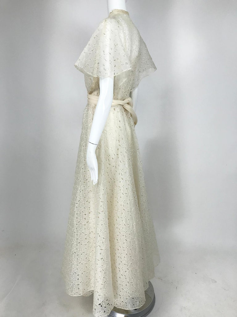 Women's Vintage Ivory Organza Cut Work Summer Evening Party Dress 1940s 10-12 For Sale