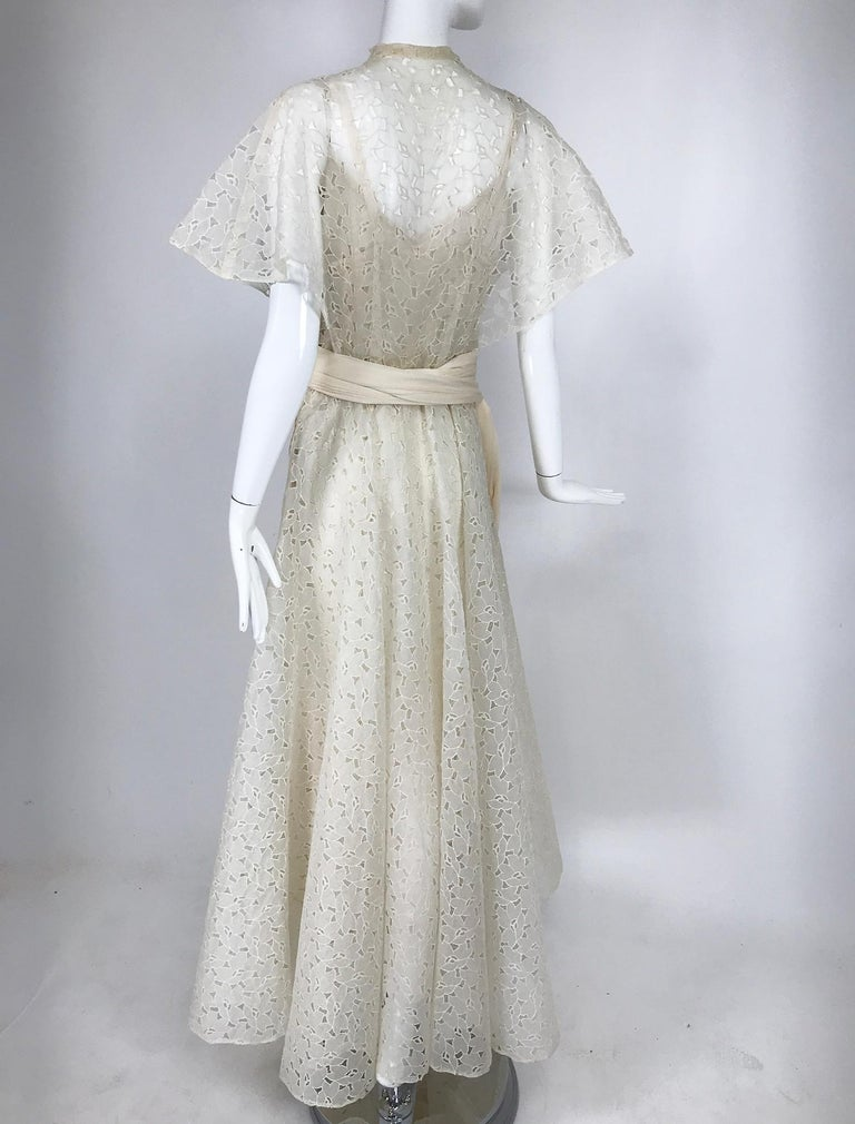 Vintage Ivory Organza Cut Work Summer Evening Party Dress 1940s 10-12 For Sale 1
