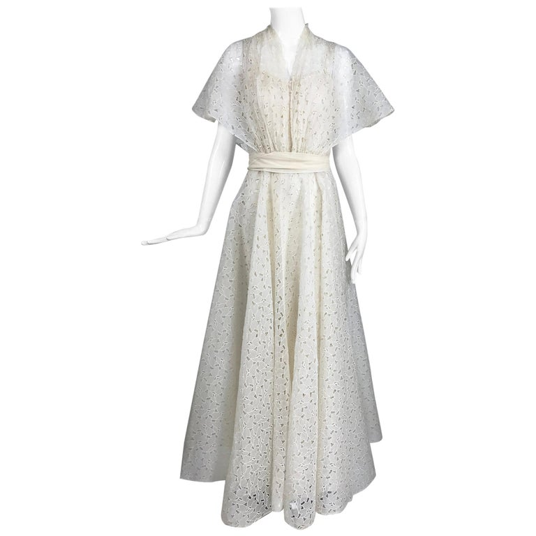 Vintage Ivory Organza Cut Work Summer Evening Party Dress 1940s 10-12 For Sale