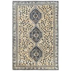 Vintage Ivory Persian Qashqai Handmade Wool Distressed Bohemian Rug