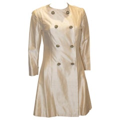 Vintage Ivory Raw Silk Coat Dress
