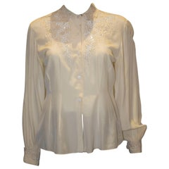 Vintage Ivory Silk Chinease Blouse with Detail on Yoke and Cuff.