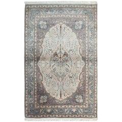 Vintage Ivory Wool Handmade Carpet Area Rug