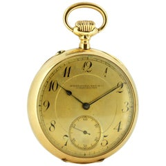 Vintage IWC 14 Karat Gold Manual Winding Pocket Watch, 1950s