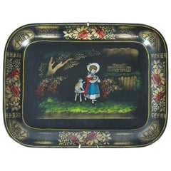 Vintage J Beverlee Toleware Folk Art Tray Metal Floral Woman Girl Cat