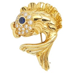 Vintage J. Cooper 18 Karat Yellow Gold Diamond and Sapphire Fish Brooch Pin