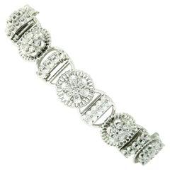 Vintage Jabel 18k Gold 3ctw Diamond Cluster & Bar Link Filigree Tennis Bracelet