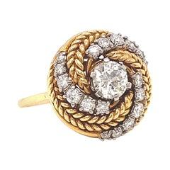 Vintage Jabel Diamond Gold Cocktail Ring