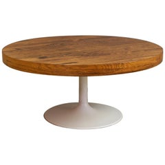 Vintage Jacaranda Round Coffee Table with Metal Tulip Foot in Saarinen Style