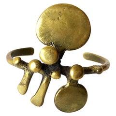 Vintage Jack Boyd San Diego Modernist Bronze Spore Cuff Bracelet