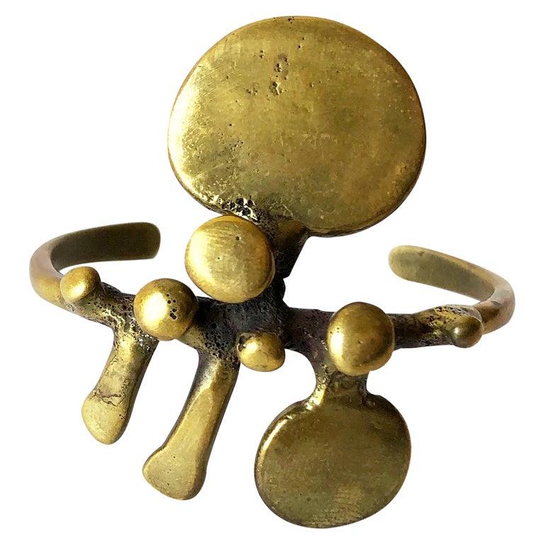 Vintage Jack Boyd San Diego Modernist Bronze Spore Cuff Bracelet For Sale
