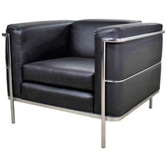 Vintage Jack Cartwright 20/123 Club Chair Black Faux Leather after Corbusier LC2