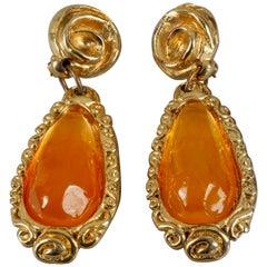 Vintage JACKY DE G Amber Cabochon Massive Earrings