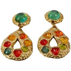 Vintage JACKY DE G Baroque Multicolor Cabochon Massive Earrings