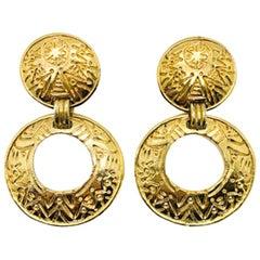 Vintage Jacky De G Paris Gold Hoop Earrings 1980s