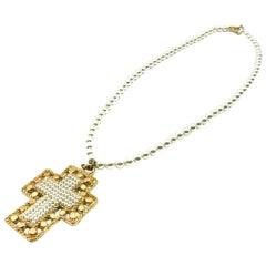 Vintage Jacky De G Paris Pearl & Gold Cross Pendant Necklace