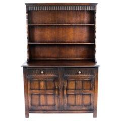 Vintage Jacobean Revival Oak Welsh Dresser Cabinet Sideboard 20th C