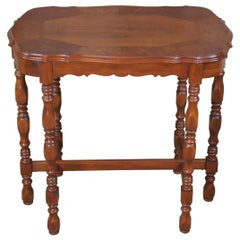 Vintage Jacobean Walnut Rectangular Scalloped Side End Accent Parlor Table