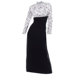 Vintage Jacques Fath Black Evening Dress With Silver & White Brocade Lace Print